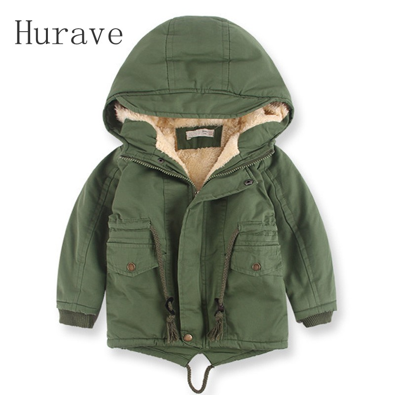 Hurave new arrival boy jacket warm outwear winter coat boys kids jacket thick baby boys winter jacket for boy hooded Trench