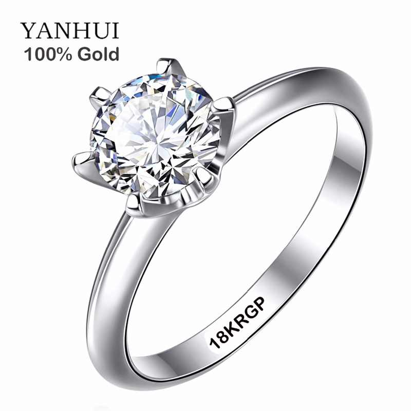 YANHUI Real Pure Gold Ring with 18KRGP Stamp Original Rings Set 1 Carat CZ Zirconia Wedding Rings For Women RING SIZE 4-11 SR168
