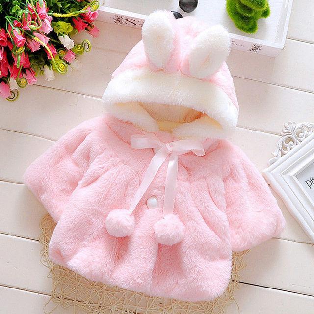 6329f0020 Cute Baby Toddler Girl Warm Fleece Winter 3D Rabbit Ear Pompon Coat ...