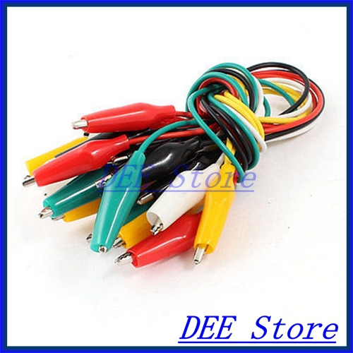 цена на 10 Pcs 12 Multimeter Power Supply Alligator Clip Test Lead Cable Multicolor