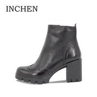 INCHEN Black Full Sheepskin Genuine Leather Boots Size 36 41 Handmade Zipper Platform Brogue Style Round