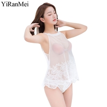 YiRanMei Sexy Open Babydoll Lingerie Erotic Hot Sex Panties White Lace Net Cloth Nightwear Exotic