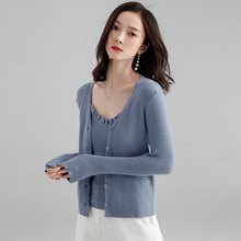 Korean Style Women Sweater Elegant Two piece set Single-breasted V-neck Cardigan Coat Jacket and Knitted Vest Sweaters Tops