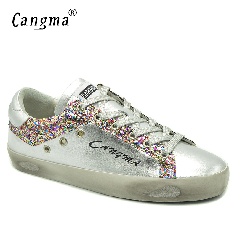 7a2821b6d1be1 Passer la souris dessus pour zoomer. CANGMA nouvelle marque Sneakers femmes  chaussures en cuir verni argent rose chaussures à paillettes pour femme ...