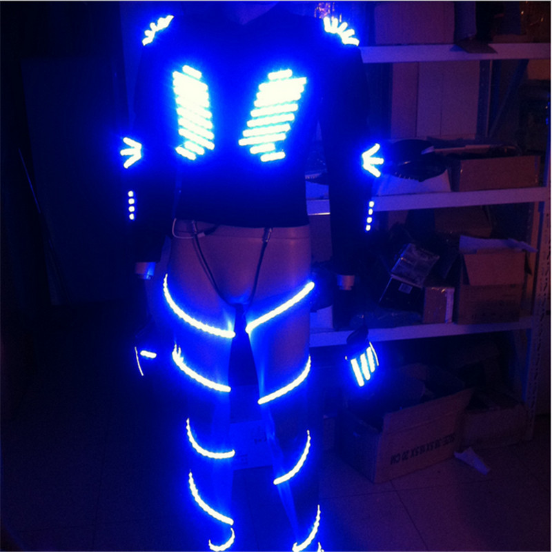 TK0301 hombres robot traje colorido LED luminoso trajes brillantes ...
