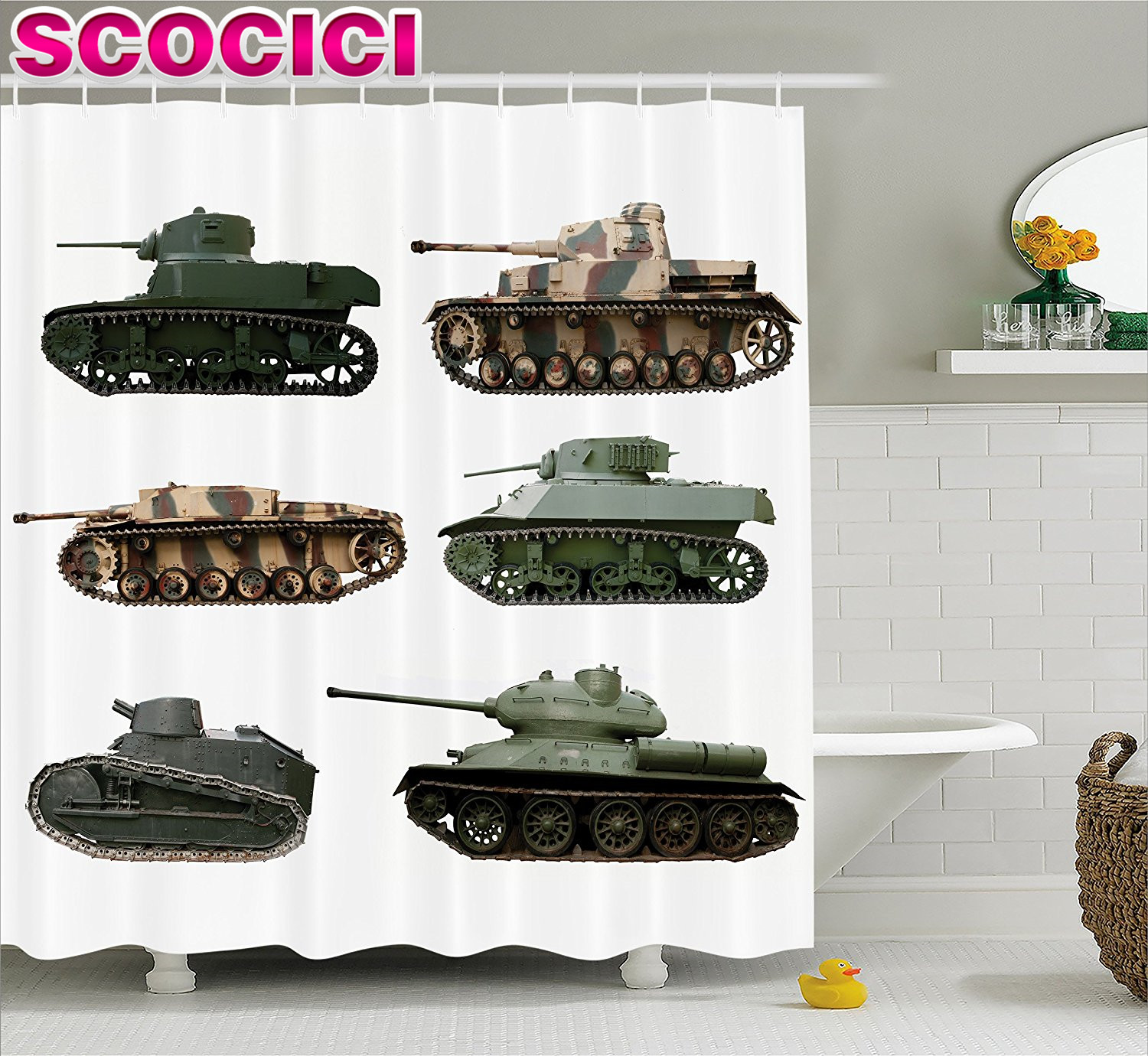 War Home Decor Shower Curtain Second World War Armoured Tanks Camouflage Military Power Artillery Weapon Fabric