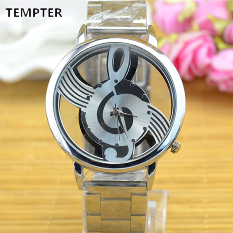 2017 Hot Selling Women's Men's Musical Note Notation Hollow Stainless steel Strap Quartz Wrist Watch Relogio Feminino Clock hot selling stainless steel watch women