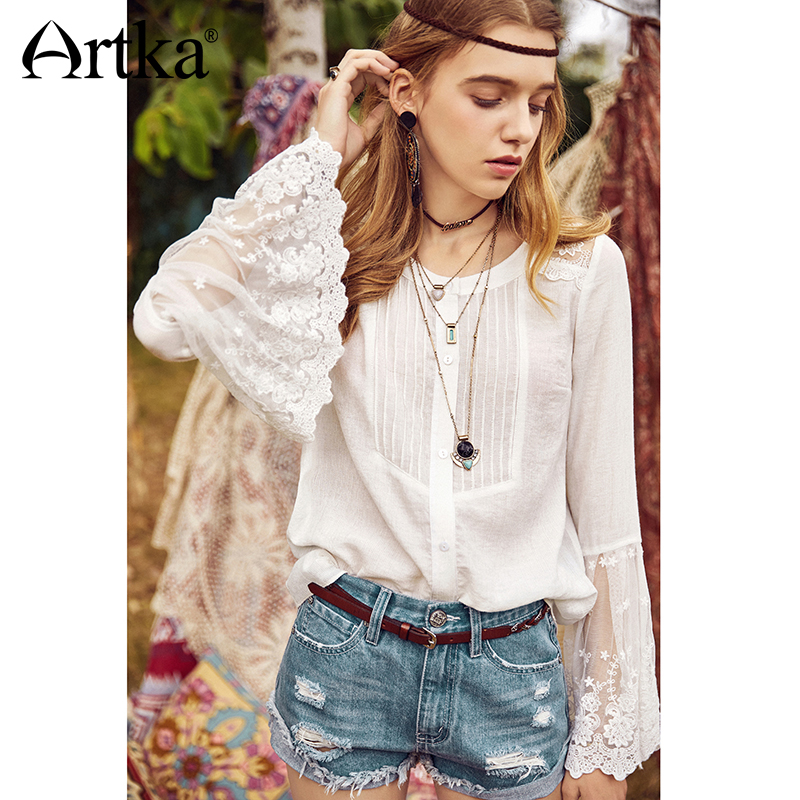 ARTKA Lace Embroidered Elegant White Blouse SA10987C