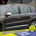 De coches de estilo de Acero inoxidable Ventana de Recorte pegatinas Para VW Tiguan 2010-2016 Ventanas de Marco Lentejuela recortar decorar Accesorios