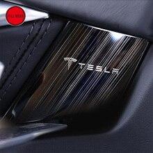 Interior del coche Molduras Puerta Interior Sticker Protector Anti-scratch Deceleración para Tesla Model S 2014-2017 Inoxidable Guardia de acero