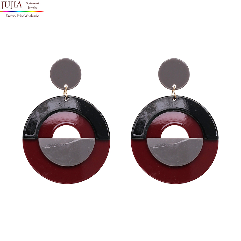 Jujia 2 цвета хорошее качество Мода Смола Серьги Винтаж Boho себе падение Серьги для оптовая продажа