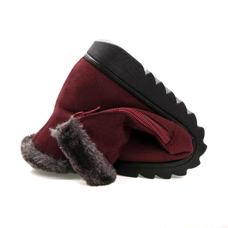BONJOMARISA Dropship Kış Süper sıcak Platform Patik Kadınlar Casual Düşük Takozlar yarım çizmeler Eklemek Kürk Ayakkabı Kadın