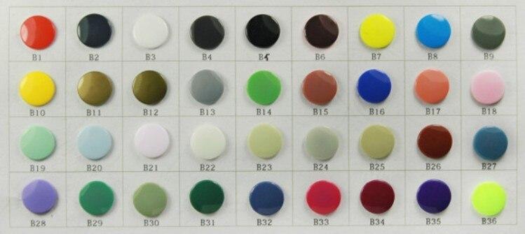 Высокое качество 36 цветов 1000 компл./лот/цвет T5(12,4 MM) пластиковые кнопки, пластиковый зажим Смола кнопочные пуговицы