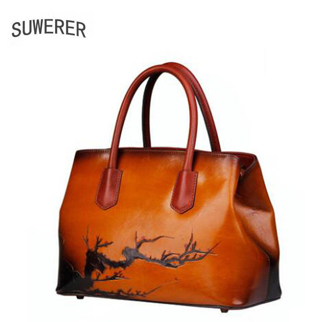 f7b8e0e0c2f SUWERER nieuwe Lederen vrouwen tassen Handgemaakte art reliëf Mode luxe  handtassen vrouwen tassen designer vrouwen lederen