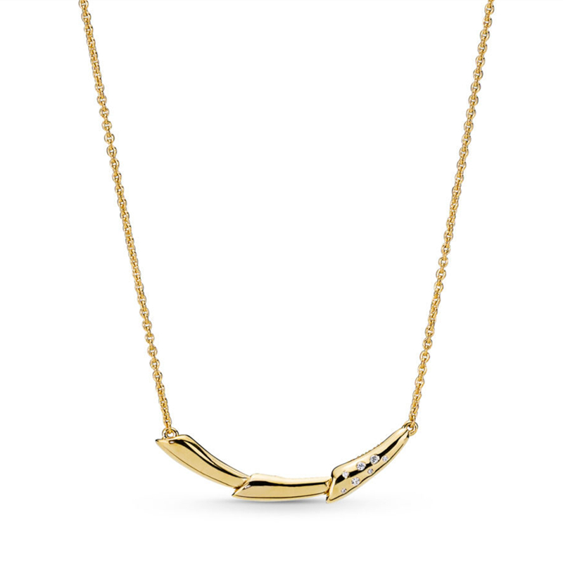 2019 Printemps Éclat Tige De la Fleur Collier De Mode Or Argent 925 Chanceux Fleur Tige Pendentif Long collier bijoux pour femmes.