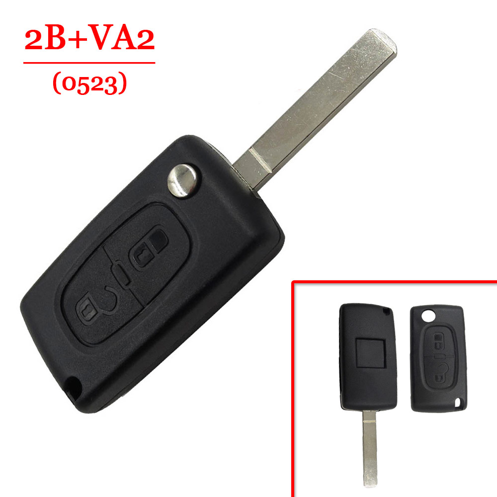 2 Button Flip remote key case With VA2 Blade For Peugeot 306 407 807 Partner Citroen C2 C3 C4 C6 Berlingo Key shell free shipping 3 button flip key shell with battery ne78 blade for citroen 0536 10 piece lot