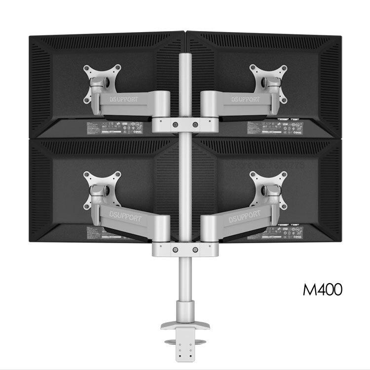 Dsupport M400 bureau Quad moniteur support aluminium plein mouvement 4 écran moniteur bras chargement 16kgs avec poteau de support 70 cm
