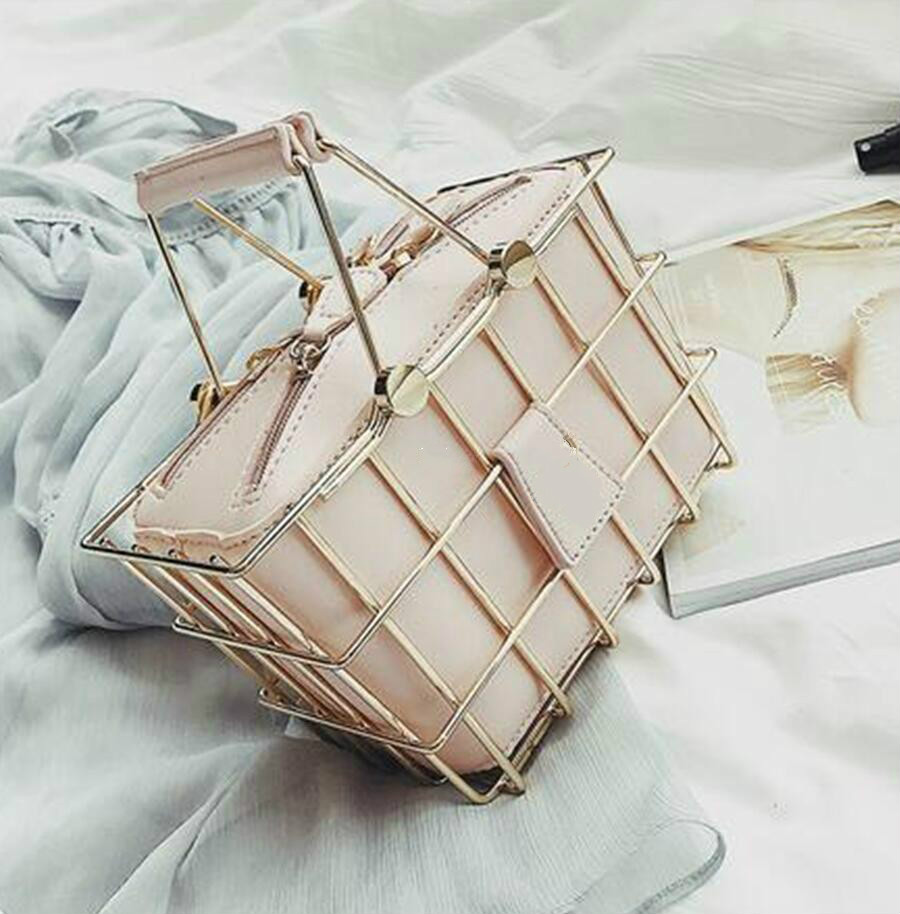 Fashion Designer Women Handbags 2018 New High-quality PU Leather Women Bag Iron Basket Square Bag Chain Shoulder Messenger Bag