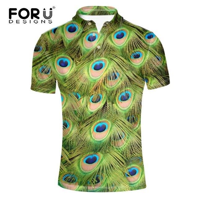 db5d28d8 FORUDESIGNS High Quality Men Polo Shirts Peacock Pattern Short Sleeve  Flower Print Polo Shirt Fashion Slim Men's Casual Polos