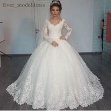 Винтажное кружевное свадебное платье с длинным рукавом 2019