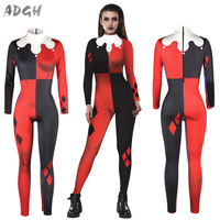 Sexy Cosplay Costumes Suicide Squad Harley Jumpsuit Quinn Spandex Zentai Catsuit Halloween Women Full Bodysuit Fancy Dress Sale
