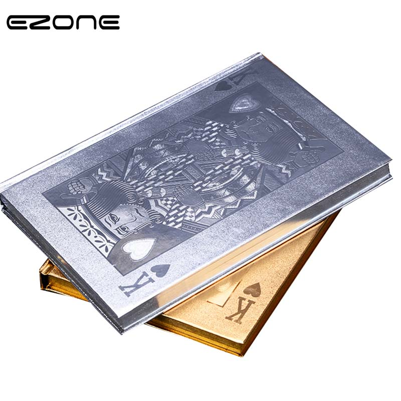 EZONE  Novelty Hardcover Notebook Poker K Cover Foil Gold Diary Crative Style Printed Notepad Note Book School Office Supplies poker gold bee poker wool gift set gold bee poker gift box