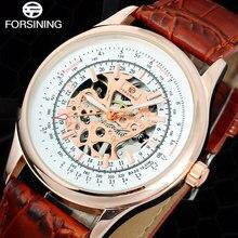 FORSINING Luxury Brand Hombres Reloj Del Mens Esquelético de la Mano del Viento Relojes Machanical Hombres Banda de Cuero Reloj de Regalo Reloj de Vestir Informal Masculina
