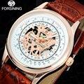 Forsining homens de marcas de luxo relógio esqueleto mens vento mão machanical relógios homens casuais relógio vestido masculino relógio de presente pulseira de couro