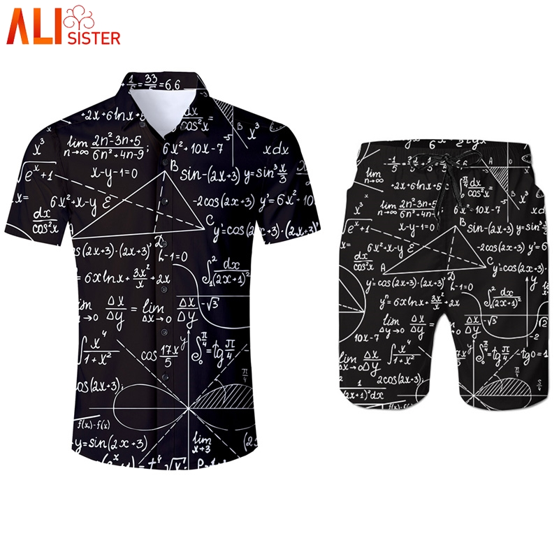 Alisister 3d Mathematics Print Funny Tracksuit Mens Short Set Shirts And Shorts Summer Set Survetement Homme 2 Piece Clothing