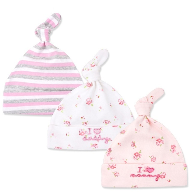Set of 3 Colorful Cotton Baby Hats 4