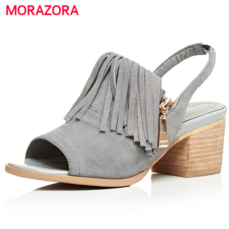 ФОТО MORAZORA Square heels shoes 6.5cm tassel zip summer sandals women shoes cow suede fashion party solid large size 34-40