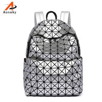 Fashion Laser Balck Silver PU Women Backpack Casual Preppy Leather Black Backpacks Female Girls School Bags