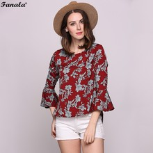 FANALA Blouse O neck Flora Print Butterfly Sleeve Blouse Shirt Short Red Blouse chemise femme Casual Summer Tops Blusas #30-20
