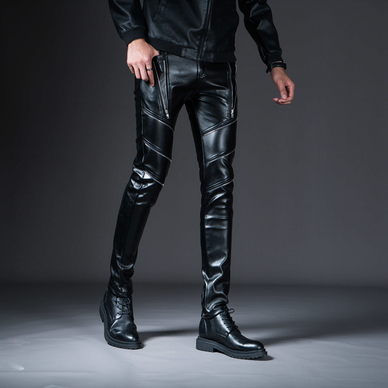New Spring Men's Skinny Leather Pants Fashion Faux Leather Trousers For Male Trouser Stage Club Wear Biker Pants