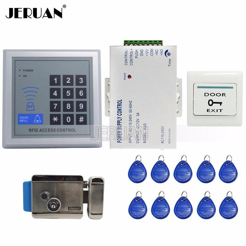 JERUAN tout nouveau Kit de système de contrôle d'accès de porte Rfid + serrure de porte à commande électrique + Code de clavier Rfid facile à installer