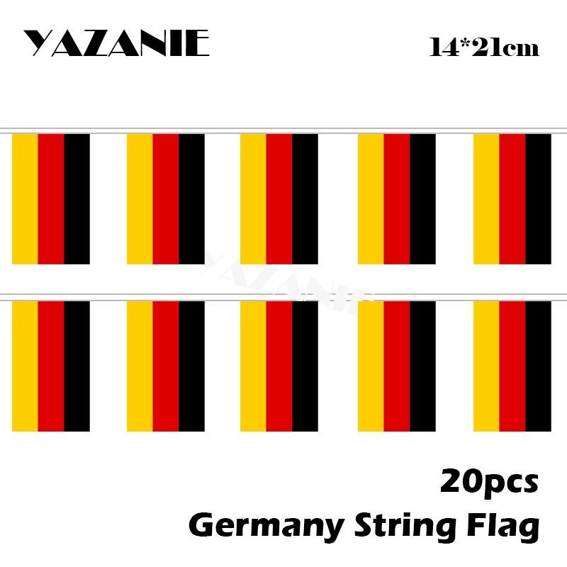 Миниатюрный флаг страны Германии, язани, 14 х21 см, 20 шт., Германия, флаги-ленты для офиса, школы, библиотеки, торгового центра, украшение