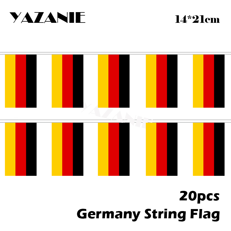 YAZANIE 14*21cm 20PCS Small Germany Country Flag <font><b>Deutschland</b></font> String Flags for Office School Library Shopping Mall Decoration image