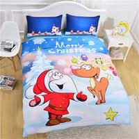 Merry Christmas Bedding Set 3D Pattern Santa Claus David's Deer Duvet Cover Set Bedspread For Kids Children fashion bedclothes