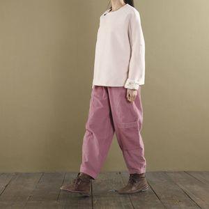 Image 5 - YoYiKamomo Corduroy Women Trousers 2018 Autumn Winter Wide legged Pants Solid Color Pockets Elastic Waist Loose Women Pants