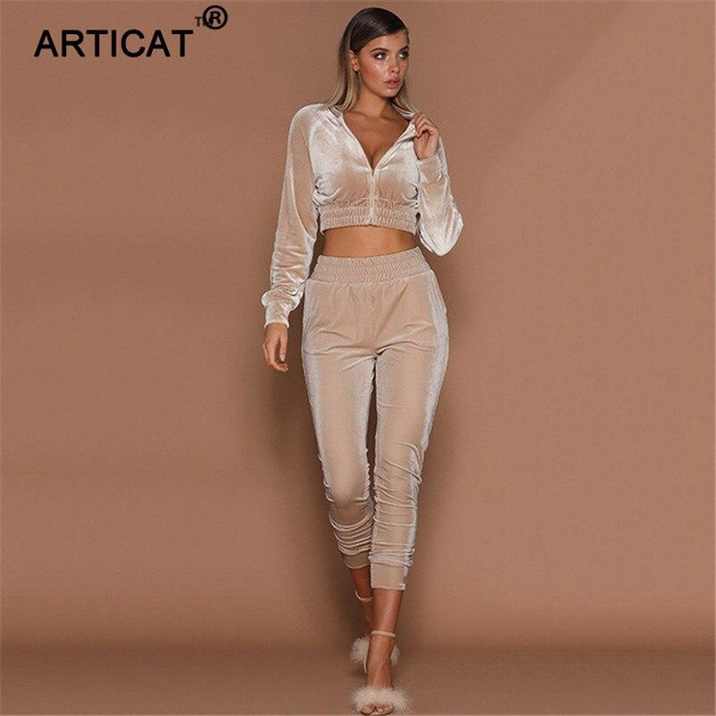 Articat Autumn Two Piece Set Velvet Jumpsuit Women Long Sleeve Zipper Winter Bodycon Tracksuit Casual Stretch Crop Top Overalls|Women's Sets| |  - title=