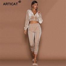 Articat otoño dos piezas conjunto de terciopelo mujeres manga larga Zipper invierno Bodycon Tracksuit Casual Stretch Crop Top trajes