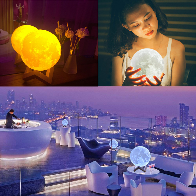 3D Print Moon Light Colorful Change Luna Moon Lamp Rechargeable Touch Switch Night Light for Home Decoration Christmas Gift