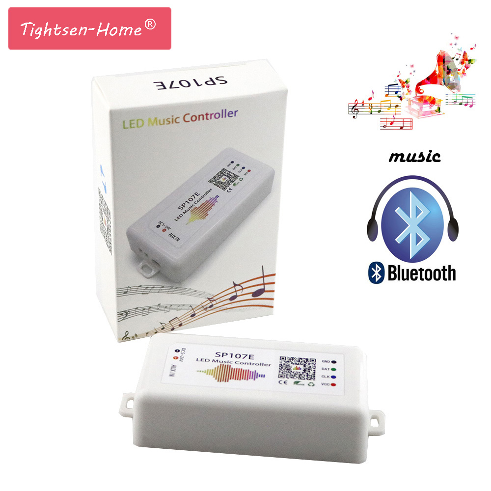 SP107E LED Controller WIFI Bluetooth Pixel IC SPI Music by Phone APP For WS2812 SK6812 SK9822 RGBW APA102 LPD8806 Strip DC5-24V k 8000g sd card led pixel controller off line spi signal output controlling 8192 pixels can choose ic type by using the button