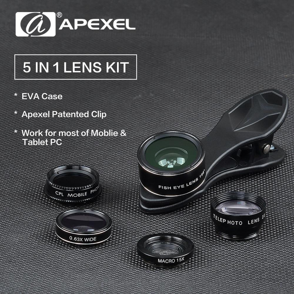 imágenes para Apexel 5en1 lente ojo de pez gran angular macro lente para teléfonos móviles telescopio cpl para iphone 5 6s plus samsung xiaomi fisheyelentes dg5