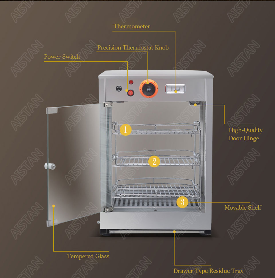DH1P Commercial Countertop Electric Stainless Steel snack bread pizza Food Warmer Display Showcase 4