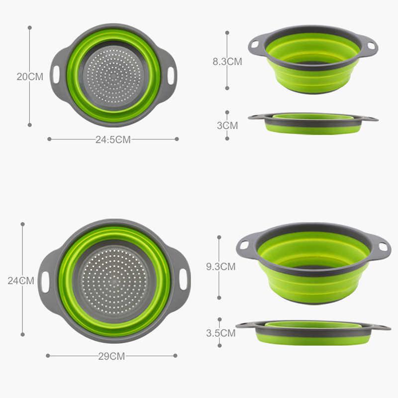 2 pcs / set silicone folding strainer strainer basket basket sets round shape fruit vegetable washing kitchen baskets