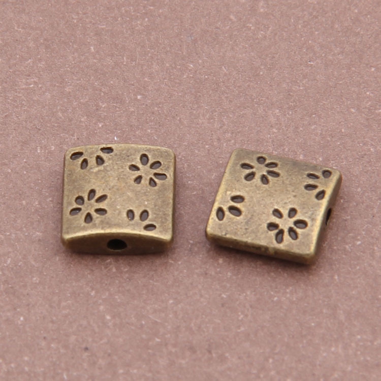 Free Shipping 60pcs/lot Jewelry components Anique bronze alloy Plum flower Flat beads Small Hole Beads 8x8x4mm
