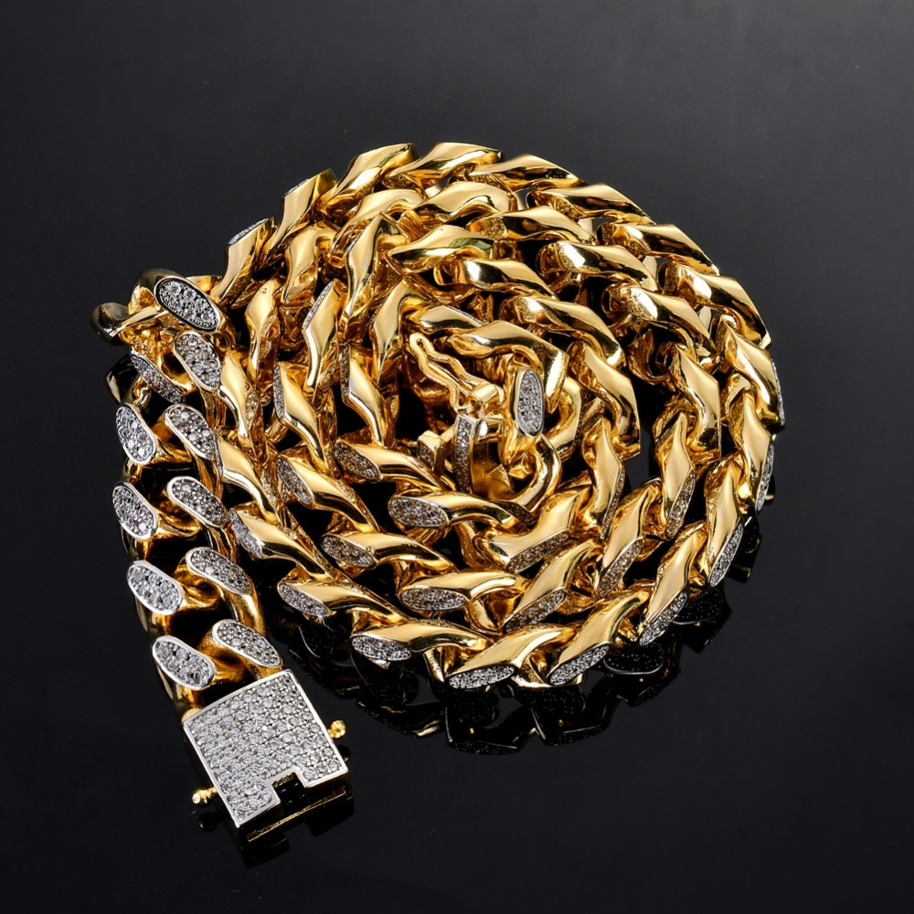14mm Hip Hop Bling Iced Out Cuban Miami Link Chain Necklace Men AAA CZ Stone Necklaces Rapper Jewelry Gold Silver Color 14mm Hip Hop Bling Iced Out Cuban Miami Link Chain Necklace Men AAA CZ Stone Necklaces Rapper Jewelry Gold Silver Color