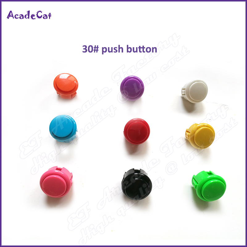 Free shipping 30mm Bracket mounted push button switch with 2Pin Built-in small microswitch for Arcade game machine(China)