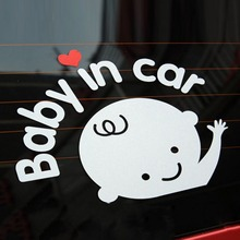 Free shipping Cartoon Car Stickers , Reflective Vinyl Styling Baby In Warming Sticker ,Baby on Board